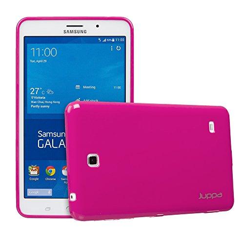 Juppa® Samsung Galaxy Tab 4 7,0 Zoll SM-T230 SM-T231 TPU Silikon Gel Tasche Hülle Schutzhülle mit HD LCD Displayschutz Schutzfolie Folie (Rosa / - Gel Lg Case Tablet 7