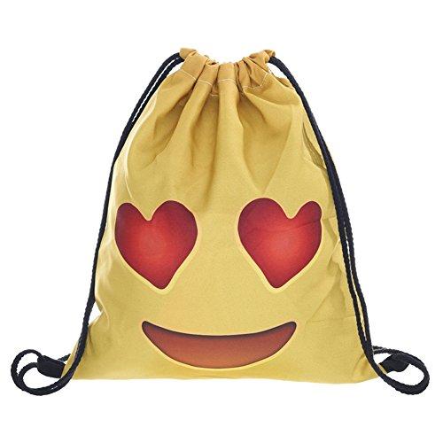Imagen de emoji bolsa con cordón, searchall equipo de entrenamiento gimnasio sacos drawstring  bolsa para las niñas soft polyester gym sackpack bolsa de cordón bolsa deportiva para adolescentes emoji stuff, admire yellow