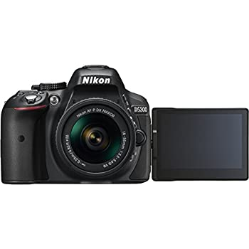 "Nikon D5300 - Cámara réflex digital de 24.2 Mp (pantalla 3.2"", estabilizador óptico, grabación de vídeo Full HD), color negro - kit con objetivo AF-P 18-55mm VR"