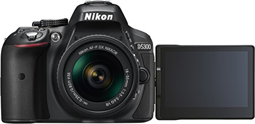 Nikon D5300 - Cámara réflex digital de 24.2 Mp (pantalla 3.2', estabilizador óptico, grabación de vídeo Full HD), color negro - kit con objetivo AF-P 18-55mm VR