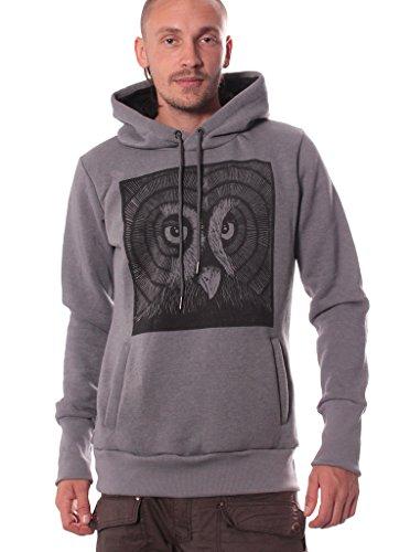 Felpa con cappuccio Fukuro Owl - Pullover con cordino da uomo - Abbigliamento con stampa (Novità Mens Pullover)