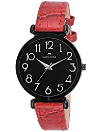 Swisstone Analogue Black Dial Red Leather Strap Women's & Girl's Watch - Ck301-Blk-Red