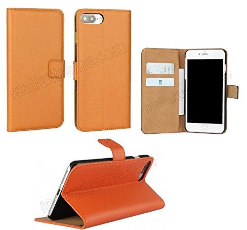 AMO® New différentes couleurs Portefeuille en cuir véritable étui livre avec support Coque pour iPhone 44G 5G 5C 66PLUS, Cuir, orange, 4G