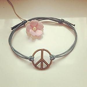 Peace Armband in Petrol Bronze Größenverstellbar, Frieden / harmony / vintage / ethno / hippie / must have / statement / florabella schmuck