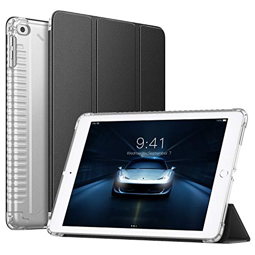iPad 9.7 Inch 2018/2017(iPad5/iPad6/iPad Air/iPad Air 2 Tablet, Slim Smart-Shell Stand Cover with Corner Airbag Protector and Soft TPU Back, Black (with Auto Wake/Sleep) ()