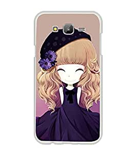 Printvisa Animated Girl With Blue Dress And Flowers In Hair Back Case Cover for Samsung Galaxy J7::Samsung Galaxy J7 J700F