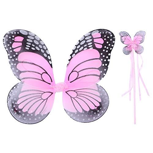 Glitter Kostüm Fairy - Fenical Schöne Engel Schmetterling Elf Flügel Wunderkerzen Glitter Fairy Cosplay Kostüm Set Halloween Kostüm für Kinder Mädchen (Flügel und Fairy Stick)