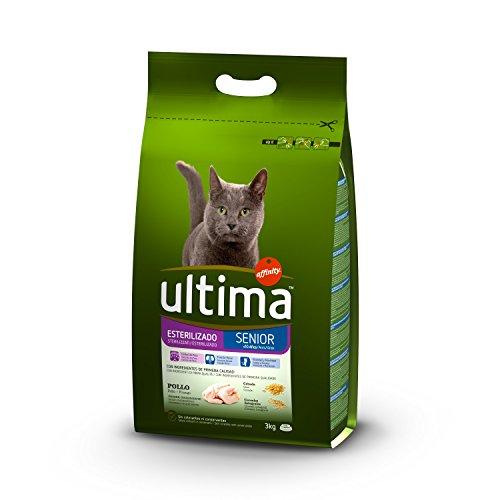 Ultima Pienso para Gatos Esterilizados Senior de 10 Años con Pollo - Paquete de 5 x 3000 gr - Total: 15000 gr
