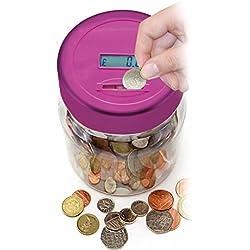 Bote para contar monedas electrónico LCD, Hucha digital, color rosa.