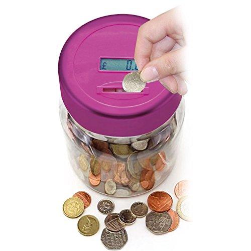Jarro para contar monedas electrónico LCD, alcancía digital, de Top Home Solutions, color rosa., Rosa