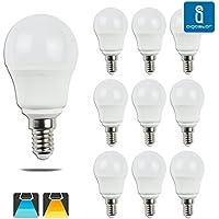 Aigostar - Confezione da 10 Lampadine Sfericas LED A5 G45, 5W, Attacco Piccolo E14, Luce Naturale 6400K[ClassediefficienzaenergeticaA+]