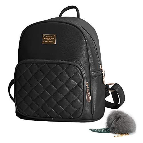 Ehpow Rucksack Damen Schultertasche Pu Leder Casual Schultasche Daypack Damen Kleinen Rucksack Für Jugendlich Mädchen (Schwarz) (Schwarze Leder-mini-rucksack)