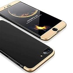 Homikon 360 Grad Hart PC Hülle 3 in 1 Komplettschutz Tasche Plastik Handyhülle mit Tempered Glas Panzerglas Ganzkörper-Koffer Schutzhülle Kompatibel mit iPhone 8 - Schwarz Gold