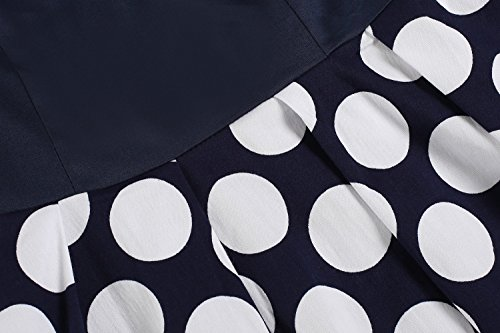 ZEARO Femme Robe Vintage 1950s a Pois Rockabilly Robe Sans Manche Jupe Plissee Pour Soiree Cocktail Blanc