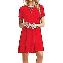ZNYSTAR Mujeres Verano Vestido de camiseta Suelto Casual Cuello Redondo Mangas cortas Vestidos