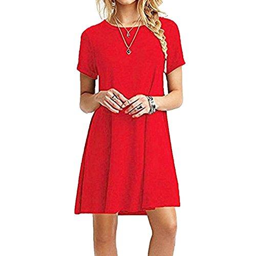 ZNYSTAR Mujeres Verano Vestido de camiseta Suelto Casual Cuello Redondo Mangas cortas Vestidos (XL, Rojo)