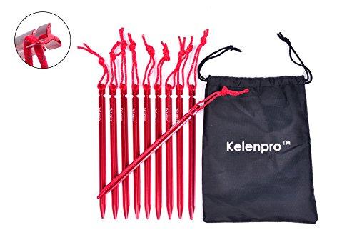 Healthmmo Kelenpro 10 packs léger Tente de camping Piquets Piquets en aluminium avec housse et cordon de tirage réfléchissant pour randonnée randonnée extérieur