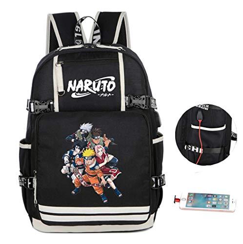 Cosstars Naruto Anime Mochila Escolar Estudiante Backpack Mochila para Portátil con Puerto de Carga USB /14