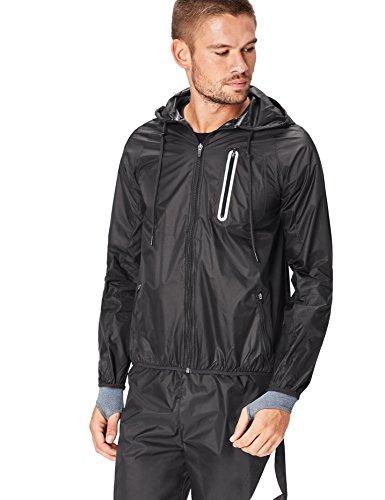 Activewear Jacke Herren Wasserabweisend, mit Kapuze, Taschen und Reflektoren, Schwarz (Black), 48 (Herstellergröße: Small) (Activewear-jacke)