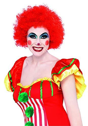 (Halloweenia - Kostüm Accessoires Zubehör Krause Herren Damen Locken Perücke Crazy Clown, perfekt für Karneval, Fasching und Fastnacht, Rot)