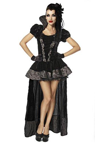 Gothic Vampira Kostüme Kleid (edles Vampir-Kostüm , Kleid im Gothic Stil, bis Gr. XL, 2 tlg.,)
