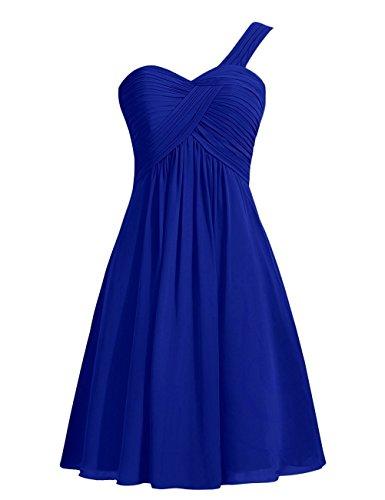 CoutureBridal® Robe Courte de Cocktail Bal Soirée Demoiselle d'honneur Chiffon Bleu Saphir