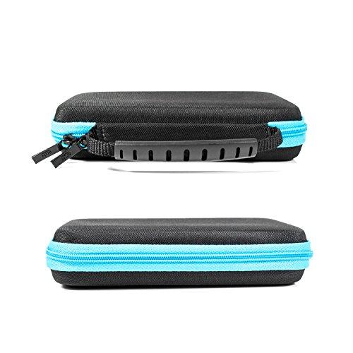 2DS XL Case, Orzly Etui pour New Nintendo 2DS XL - Housse Rigide de Rangement Zippée en Matériau Durable Anti-Choc pour la console New 2DS XL et ses accessoires - BLEU Sur Noir