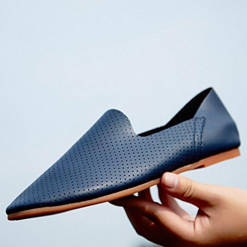 Anguang Hommes Confortable Entreprise Chaussures Flâneur De plein air Au volant Chaussures Mocassins Bleu