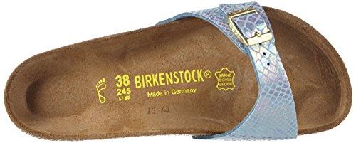 Birkenstock - Madrid Birko-Flor, Pantofole Donna Blu (Blau (Shiny Snake Sky))