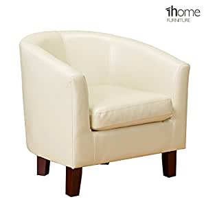 1home lederfaserstoffe wannen stuhl sessel f r wohn esszimmer b ro rezeption elfenbeinfarbe. Black Bedroom Furniture Sets. Home Design Ideas