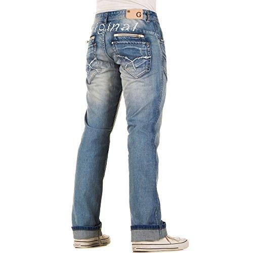 Herren Jeans, REGULAR FIT USED LOOK ZIPPER JEANS, KL-H-A184 Blau
