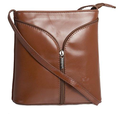 Big Handbag Shop Borsetta piccola a tracolla, vera pelle italiana Medium Tan