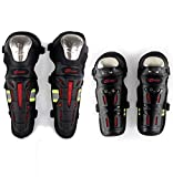 QQKnee Knie Elbows Guards Pads Long Armour Guard Protection Set Erwachsene Motocross Motorcycle Skate Skateboard Bike Tactical Racing Sports Black 2 Pcs Black