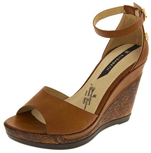 Riemchen Wedges Braune (Footwear Studio Elisabeth Damen Peep-Toe Braun Sandalen EU 37)
