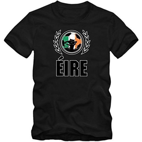 Irland WM 2018#2 T-Shirt | Éire | Fußball | Herren Fanshirt |Trikot | Nationalmannschaft, Farbe:Schwarz (Deep Black L190);Größe:M -
