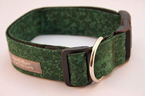 Hundehalsband Floral Dunkelgrün mit Stoffbezug und Acetalverschluss - versandfertig!
