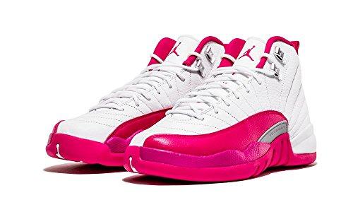 Nike Air Jordan 12 Retro Gg, Chaussures de Sport-Basketball Fille Multicolore - Blanco / Rosa / Plateado (White / Vivid Pink-Mtllc Silver)