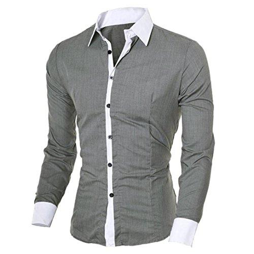 Kword uomo maglietta eleganti,personalità uomini business camicia casual manica lunga camicetta slim fit top autunno camicetta shirt top (grigio, m)
