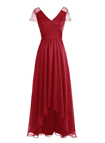 Bbonlinedress Robe de cérémonie Robe de demoiselle d'honneur asymétrique col en V longueur ras du sol Rouge Foncé
