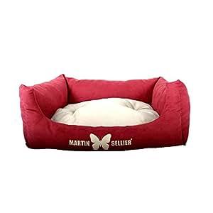 Martin-Sellier - Corbeille domino pour chien - Suédine bordeaux & gris (84cm x 70cm)