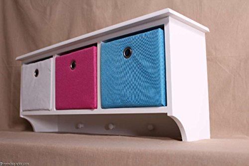 Shabby Chic! Wandregal Garderobe 3 farbige Schubladen Regal  Kindergarderobe