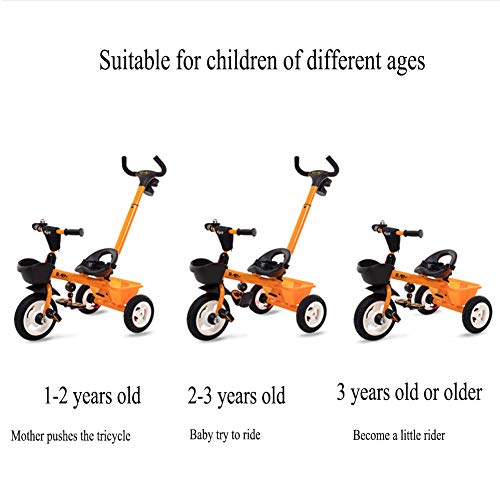 GSDZSY 2 In 1 Children Tricycle Baby Stroller, With Removable Push Handle Bar,Elastic Non-inflatable Rubber Wheel,safe And Comfort,1-5 Years,Yellow  GSDZSY