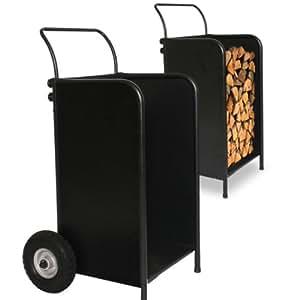 Chariot bois chariot b ches 2 en 1 rangement for Rangement buche de bois interieur