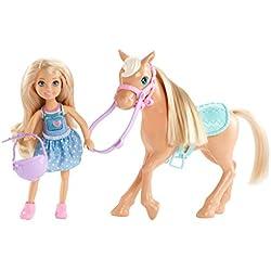 Barbie Famille mini-poupée blonde Chelsea et son poney, jouet pour enfant, DYL42