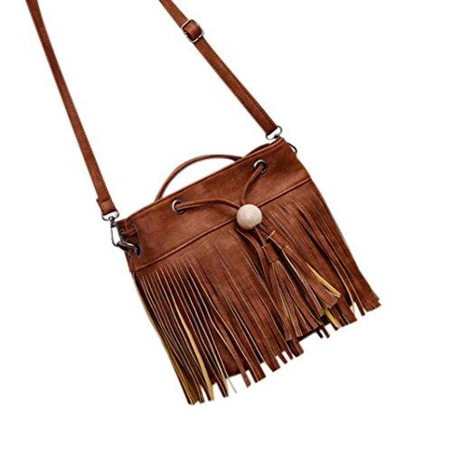 Hunpta Frauen Vintage Messenger Bag Crossbody Taschen Handtasche Quaste Umhängetaschen Braun