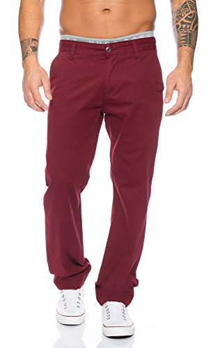 Rock Creek Herren Designer Chino Stoff Hose Chinohose Regular Fit Herrenhose W29-W40 RC-2083 Weinrot
