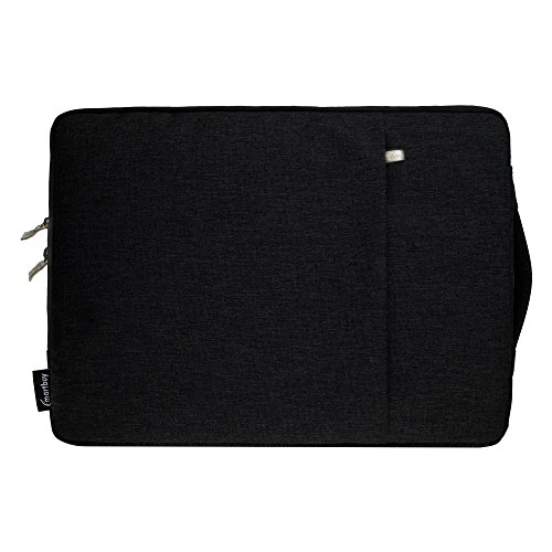 Emartbuy Fabric Carrying Cover Sleeve with Zipped Pocket Suitable for Apple MacBook Air Mmgf2Hn/A (Black Fabric_13.3-14 Inch)