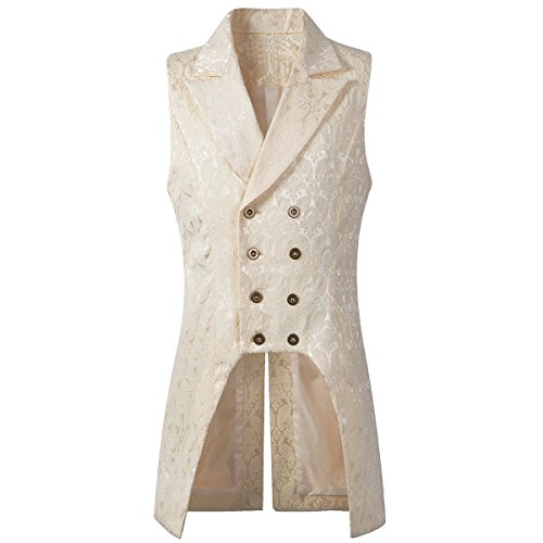 Nofonda Mens Gothic Steampunk Double Breasted Vest Brocade Waistcoat  Tailcoat Vest VTG (Beige 773577639f77