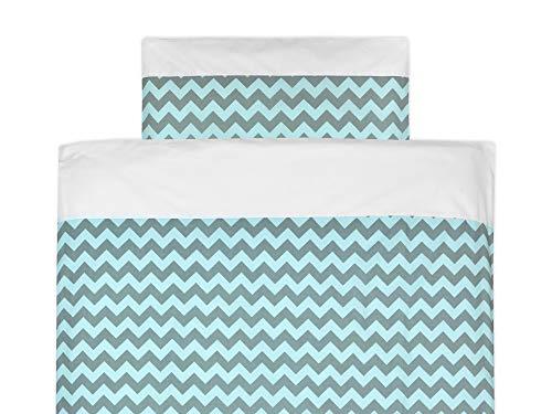 KraftKids Bettwäsche-Set Uniweiss Chevron hellgrau und mint aus Kopfkissen 40 x 60 cm und Bettdecke 135 x 100 cm, Bettbezug aus Baumwolle, handgearbeitete Bettwäsche gefertigt in der EU - Chevron Baby-bettwäsche-sets