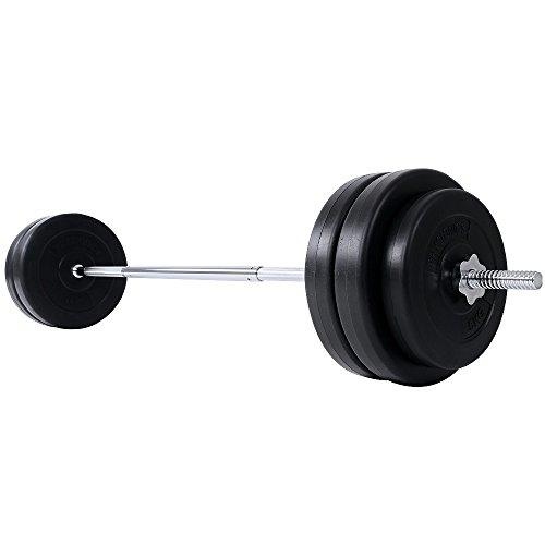 Physionics Langhantel Set 56,5 kg - Stange mit Sternverschlüssen, inkl. 6 Hantelscheiben - 168 cm Langhantelstange Hantelset Gewichte Gewichtsscheiben